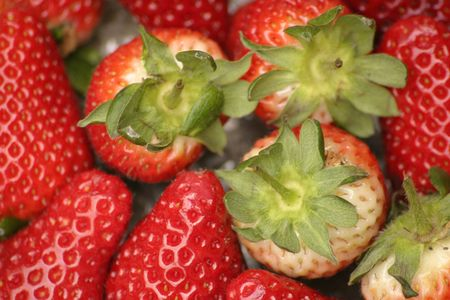 strawberries and green tops