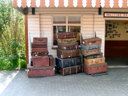 railway station: old trunks and suitcases Stock Photo