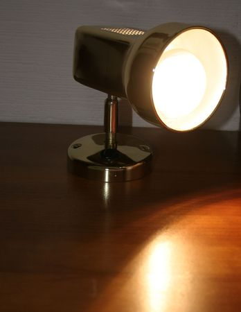 florescent light: bedside lamp with the bulb lit