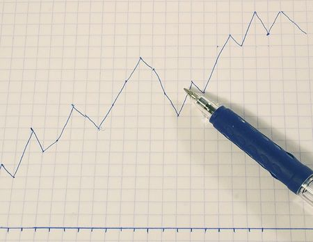lows: graph with a pen showing the rise in profits Stock Photo