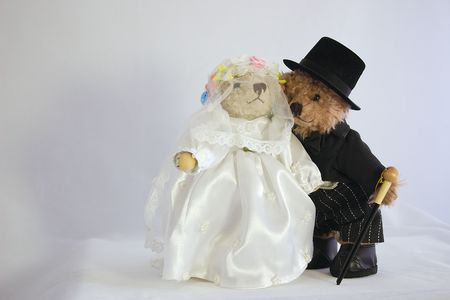 teddies dressed as bride and groom Stock Photo