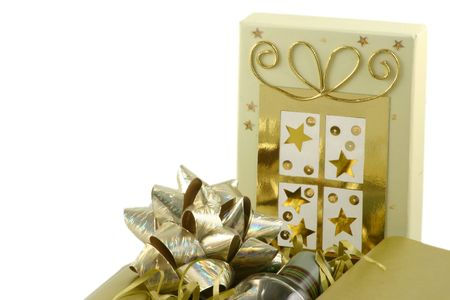 christmas perfume: decorated gift box over a white background