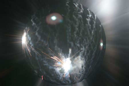 happening: planet with explosions happening around its surface Stock Photo