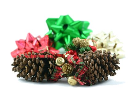pine cones and bows  christmas decoration