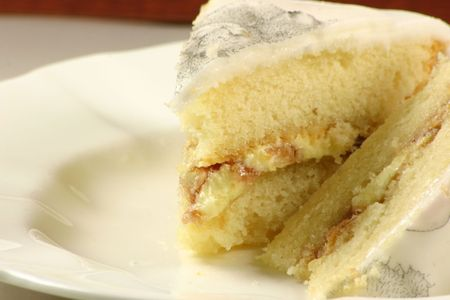 two slices of jam sponge cake Stock Photo - 612072