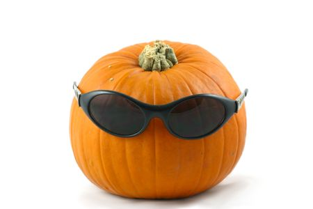 whole large pumpkin dressed  with his  dark glasses