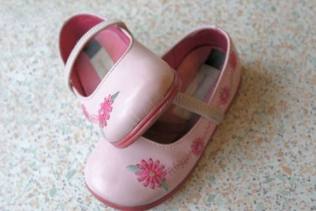 sandels: pair of pink decorated childrens shoes