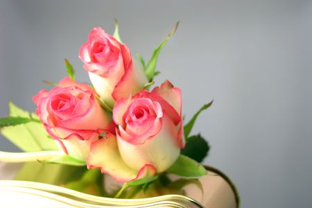 roses on a tin of chocolates over a grey background