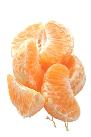 pieces of fresh orange over a white background Stock Photo - 810150