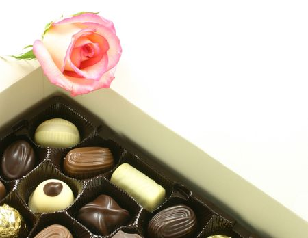 chocolates in a box with a rose on top Stock Photo - 852165