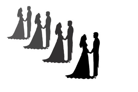 bride and groom silhouettes fading to grey from black photo