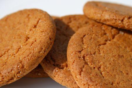 indulgence: macro shot of ginger biscuits Stock Photo