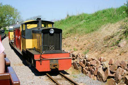 narrow gauge: narrow gauge passenger trains passing each other