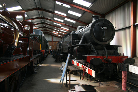 steam train in a train shed with a wooden box on board Stock Photo - 1413160