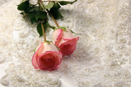 bridal gown: Rosas sobre beaded embroideredsatin vestido nupcial  Foto de archivo