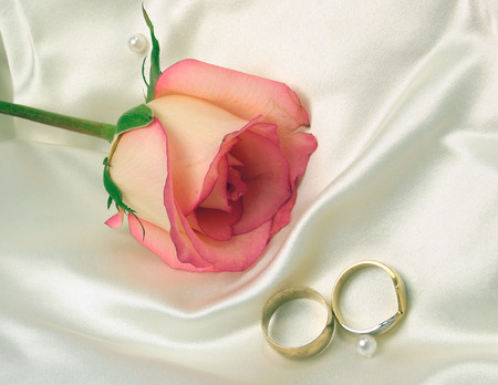 wedding rings and a rose on satin bridal gown photo