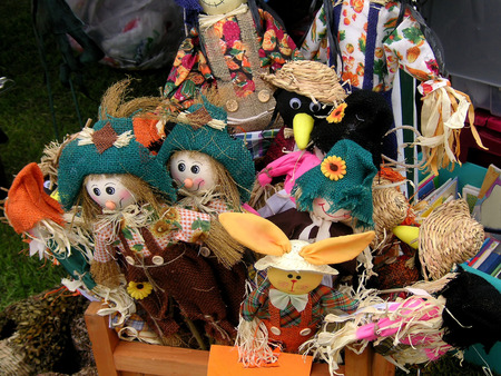 sackcloth: scarecrow toys for sale at a show Stock Photo