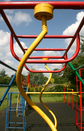 bright coloured climbing frame take from the end showing the spirals