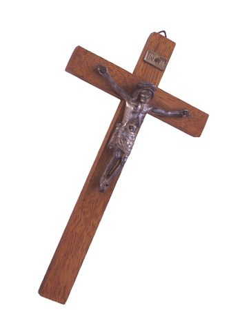 wooden crucifix isolated over a white background Stock Photo - 1988561
