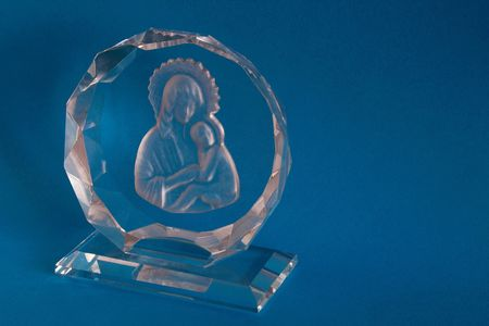 glass religious ornament engraved with mary and Jesus Stock Photo - 1988596