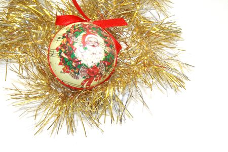 gold  tinsel with ornate papiermache bauble and bow christmas decorations for hanging on the christmas tree isolated over white background Stock Photo - 2419476