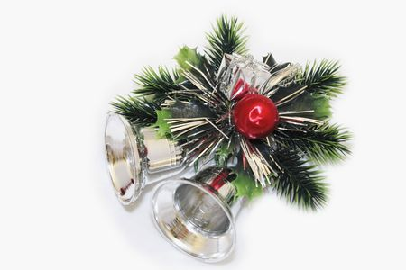 silver bells: christmas silver bells and pine decoration for the home Stock Photo
