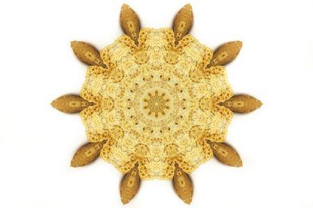 kaleidascope: food kaleidoscope creating a 3d effect illustration