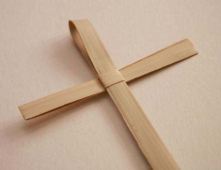 reed cross made for palm sunday mass Stock Photo