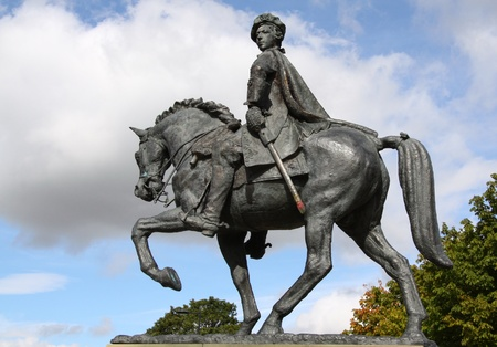 bonnie: this is a statue of Bonnie Prince Charlie in the city of Derby Stock Photo