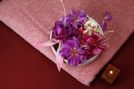 flowers in a bowl with  scented candle and pink towel Stock Photo - 11090438