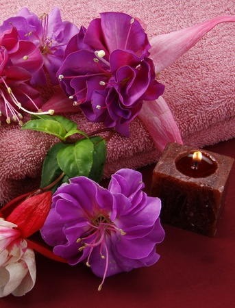 scented candles and beautiful flowers set the scene for a relaxation period Stock Photo - 11090421