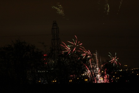 fantastic firework display of large colorful balls of light and color Stock Photo - 11090426
