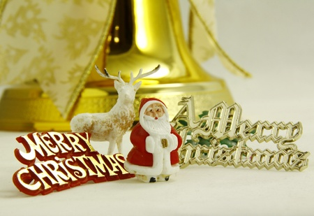 an assortment of small christmas decorations on a light background Stock Photo - 11137221