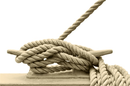 cleat: A rope is firmly tied around a boat cleat