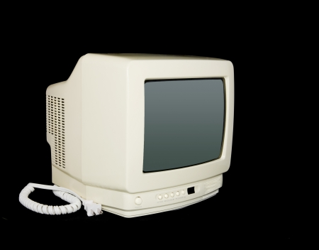 cathode ray tube: A small tv set from the 80 Stock Photo