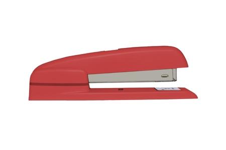 office stapler: Red stapler, side view, isolated on white Stock Photo
