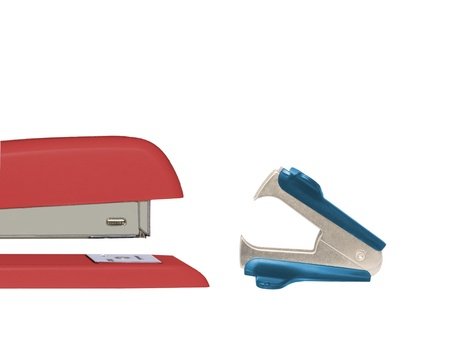 opposing views: Red stapler and blue staple remover facing each other isolated on white