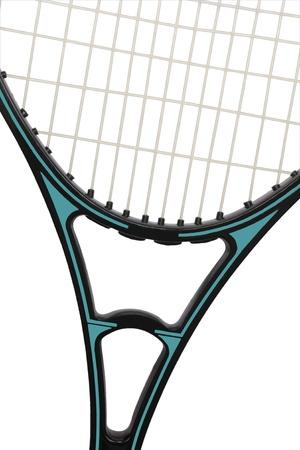 Detail of a tennis racket showing racket head and throat; vertical Stock Photo - 14316781