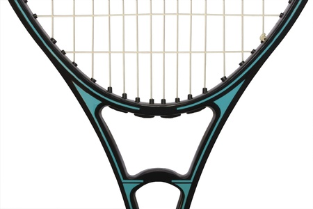 Detail of a tennis racket showing racket head and throat; horizontal Stock Photo - 14316777