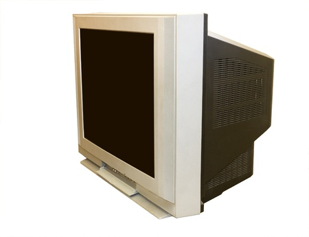 This old style TV set is large and very heavy; angled view photo