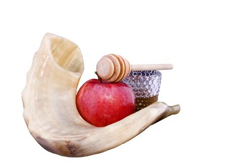 shofar: Shofar, red apple, golden honey and honey stick for Rosh Hashana