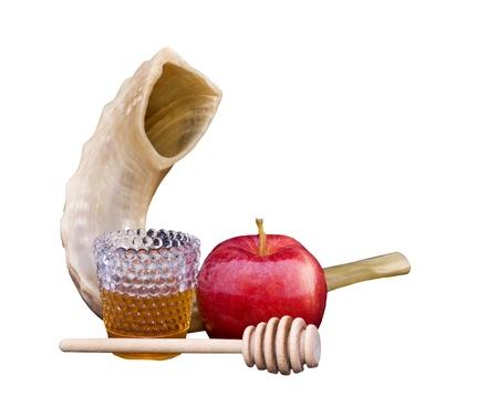 mela rossa: Shofar, mela rossa, miele dorato e bastone miele per Rosh Hashan� Archivio Fotografico