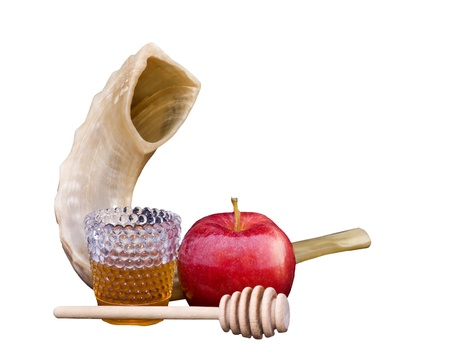 jewish new year: Shofar, red apple, golden honey and honey stick for Rosh Hashana