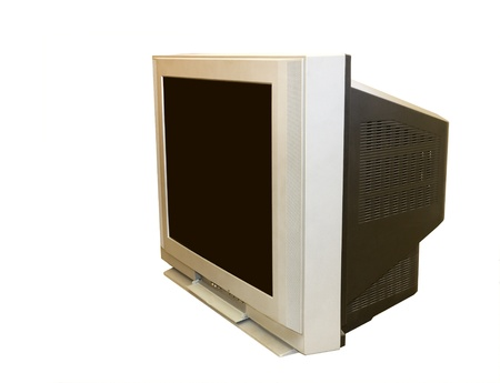 This old style TV set is large and very heavy; angled view  Photo updated for copy space  photo