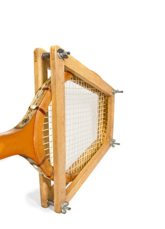 Wood tennis racket in a racket press Stock Photo - 14933856