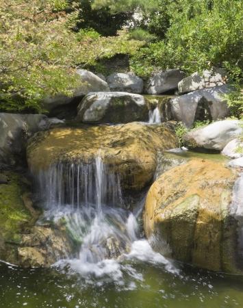 arboles frondosos: Jardín Cascadas de agua cascada sobre rocas y cantos rodados en un jardín rodeado de verdes árboles de hoja