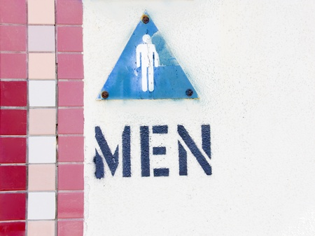 Where s the men s room  The entrance to an outdoor public restroom has the word  photo