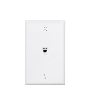 Phone jack wall outlet  Standard rectangular shape telephone jack outlet for home or office isolated on a white background  Stock Photo - 15889627