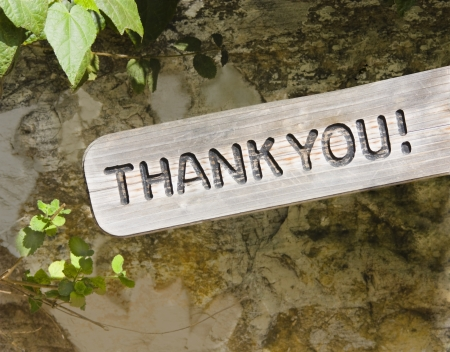 Thank you   The words  Thank You  on a wooden sign with rustic background  Nice for a greeting card or thank you note