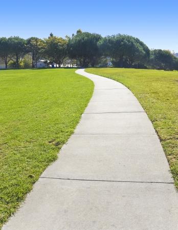 empedrado: Largo y sinuoso camino pac�fico, vac�o, y sinuoso camino a trav�s de los cortes pavimentadas un campo de hierba verde en un parque suburbano Foto de archivo